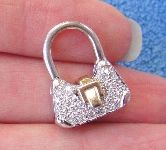 30 Diamond 14k White & Yellow Gold Purse Charm Enhancer Pendant No Chain