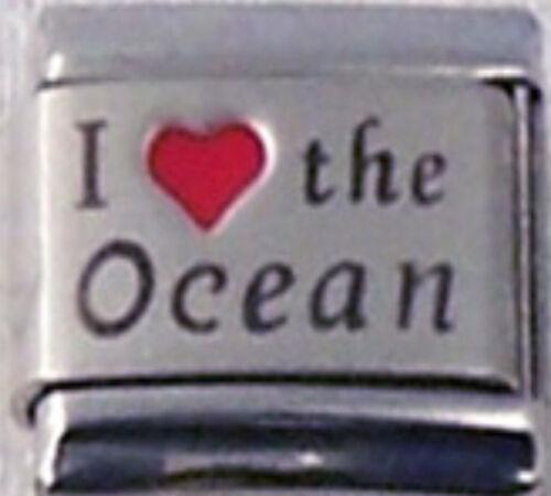 OCEAN I LOVE RH Laser Engraved Italian 9mm Charm OC001 Fits Nomination Classic
