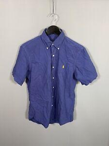RALPH-LAUREN-Short-Sleeve-Shirt-Size-Small-Navy-Great-Condition-Men-s