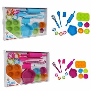 NEW-14-Piece-Childrens-Silicone-Bakeware-Baking-Set-Cupcake-Cake-Cutters-Cooki