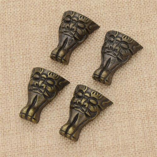 4 Pcs Vintage Jewelry Box Wooden Case Feet Leg Corner Brackets Protector Decor