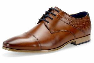 Details zu Bugatti Herren Business Schuhe Leder Halbschuhe Derby Schnürschuhe Braun Neu