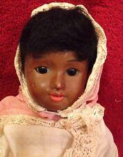 "Antique 11"" Black French Bisque Doll - UNIS SFBJ France"
