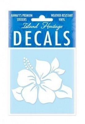 "3"" HAWAIIAN HAWAII Hibiscus White Vinyl Car Window Decal Sticker #01883000"