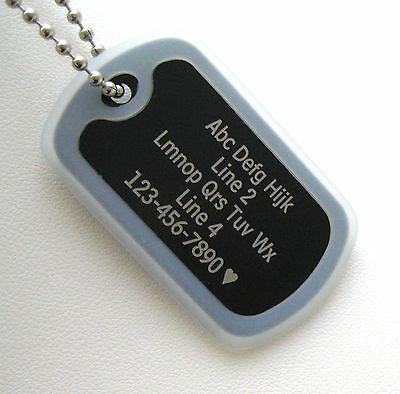 GOLD with Black Silencer 1 PERSONALIZED Dog Tag Necklace VERTICAL Wording
