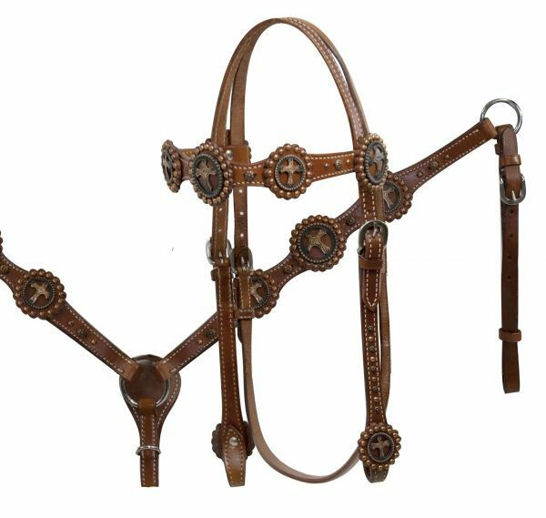 Showman ®Double Stitched Leather Vintage Cross Concho Headstall & Breast Collar