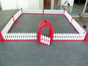 Details About Vtg Wood Christmas Tree Fence Working Gate 34 Square White Red