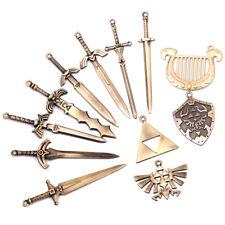 The Legend of Zelda Link Sword Shield Necklace Pendant Keychain Set Gift Collect