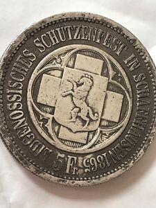 SWITZERLAND 1865 5 Francs Schaffhausen Silver Crown SCARCE