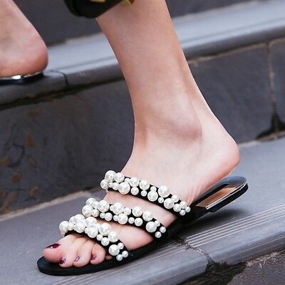 Womens Flats Shoes Black Pearl Slippers Mules Summer Fashion Europe Sandals ZSEL