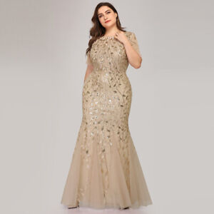 Details about Ever-Pretty Gold Plus Size Long Mermaid Evening Dress Formal  Holiday Party Gown