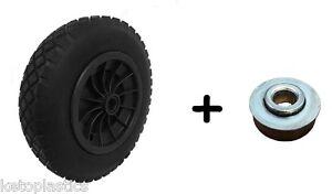 """PU 14"""" BLACK Puncture Proof Solid 3.50-8 wheelbarrow wheel 16MM ROLLER BEARINGS"""
