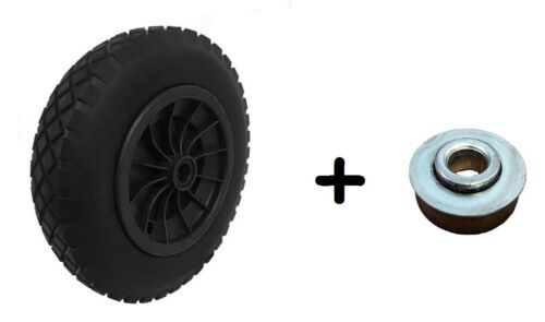 PU 14 BLACK Puncture Proof Solid 3.50-8 wheelbarrow wheel 16MM ROLLER BEARINGS