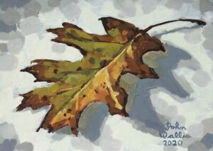 Original-Still-Life-Painting-034-Oak-Leaf-034-5-x-7-inch-by-John-Wallie