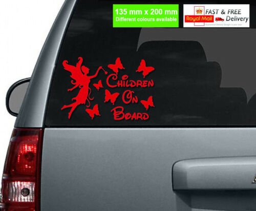 Children On Board Car Sticker Fairy and Butterflies //Different Colours Available