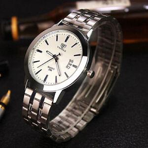 Montre-Luxe-Neuve-Homme-Bracelet-Metal-DATE-Fashion-watch-PROMO