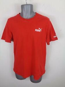 Herren-Puma-Sport-Lifestyle-Rot-Kurzaermeliges-Casual-Rundhals-T-Shirt-UK-M-Medium