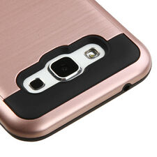 2016 * For SAMSUNG Galaxy E5 / S978L GOLD BLACK BRUSHED HYBRID SKIN COVER CASE