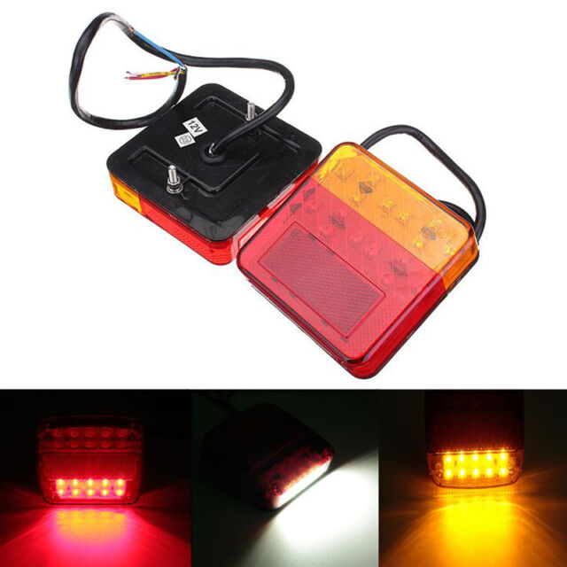 2X Trailer Truck 20LED Taillight Rear Lamps Turn Signal Brake Number Plate Light