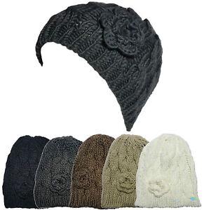 Femmes Cable Bonnet Tricot Epais Crochet Fleur Pour Unique Taille
