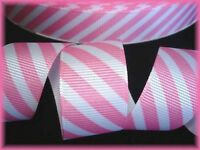 7/8 EASTER PINK WHITE CANDY STRIPE DIAGONAL FUNKY GROSGRAIN RIBBON 4 HAIRBOW BOW