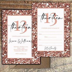 BIRTHDAY-INVITATIONS-13th-Rose-Gold-Glitter-Effect-Personalised-Blank-PK-10