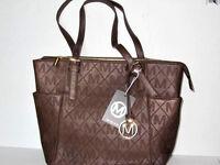 Brown Handbag Purse Bag Faux Leather Tote Fashion Classic Bucket Free Shipping