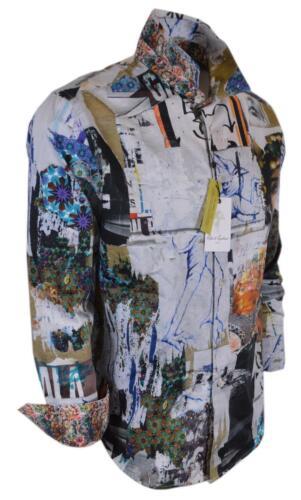 Nouveau Robert Graham 248 $ Ashlar Pierre Art Collage en coton imprimé Classic Fit Chemise