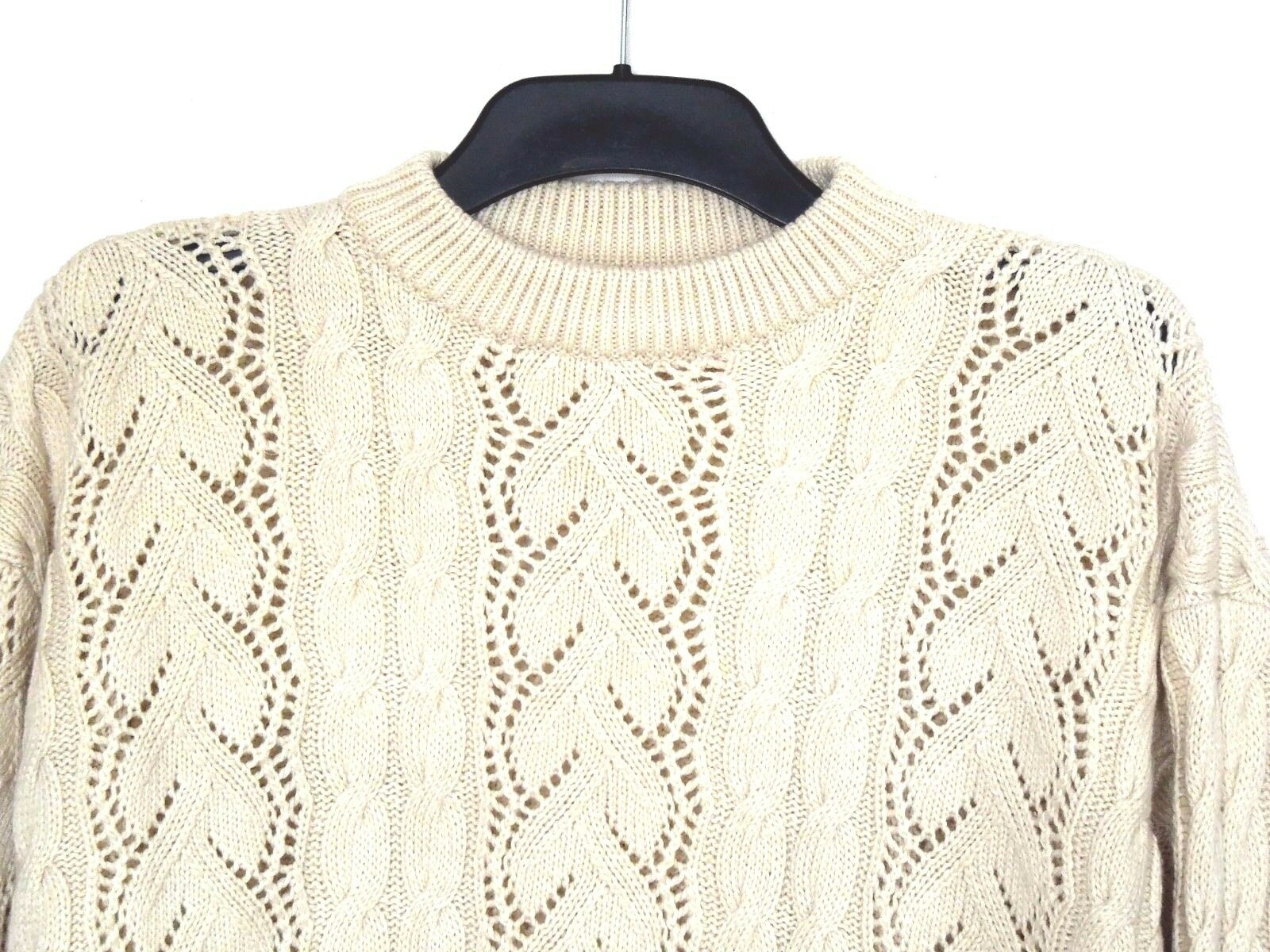 UNIQUE HANDMADE Cable Knit Knit Knit Jumper, 16-18-20 UK, 58 cm Chest 100% WOOL Off White fe8ae6