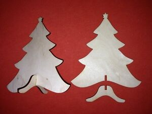 Details About 2 X 3d Large Christmas Tree Free Standing Plain Unpainted Wooden Christmas Shape