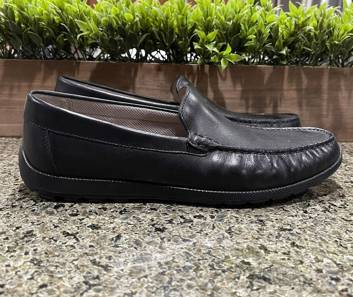 ECCO Reciprico Classic Moc Driving Style Loafers Black Leather Men's Size 8