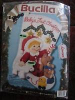 Bucilla Baby's First Christmas Stocking Felt Kit 1993 83104 12 Lamb Bear