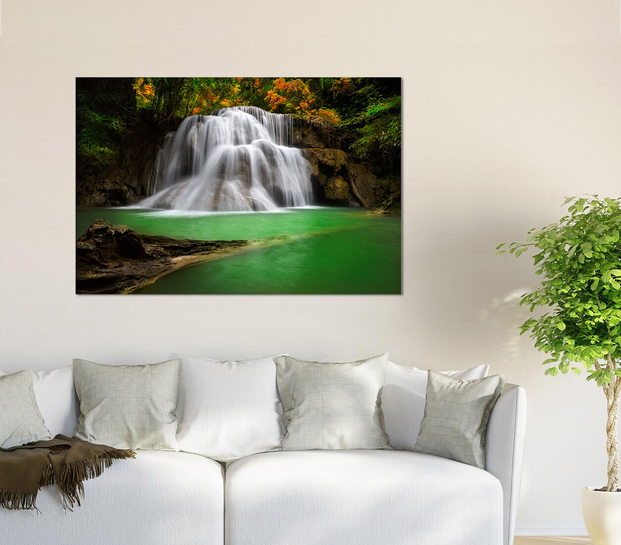 3D Wasserfall Fluss Stein 877 Fototapeten Wandbild BildTapete AJSTORE DE Lemon