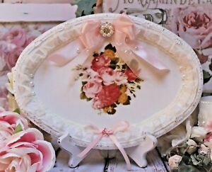 Shabby Chic Vintage French Country Decor. Serving Vanity Metal Tray Shabby Roses