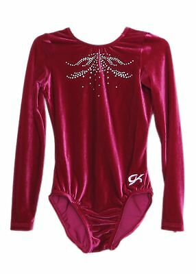 NWT GK Elite Gymnastics Long Sleeve Leotard Red Sparkles Black Adult Small AS