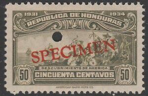 Honduras-1383-1931-descubrimiento-de-America-50c-File-Copy-muestra-desmontado