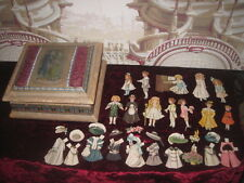 HOLIDAY SALE~CHARMING ANTIQUE PAPER DOLLS IN HAND PAINTED SILK PRESENTATION BOX!