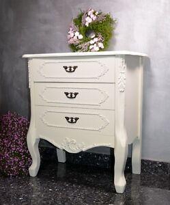 Chevet-Avec-3-Tiroirs-Bois-Style-Ancien-Retro-Vintage-Blanc-Commode-Salon-Deco