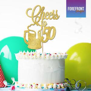 Personalizado &#039;Salud a 50&#039; Cerveza Cumpleaños Brillo Cake Topper-cualquier redacción/Edad  </span>