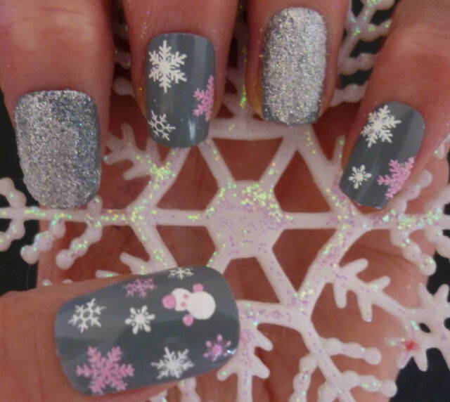 2 SHEETS Christmas WHITE PINK Snowflakes Snowman Nail Art Stickers Decals