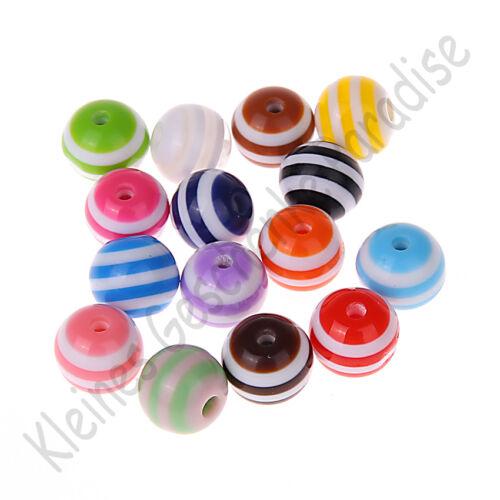 50 bunte Kunststoff Fädelperlen mit Streifen 10mm Perlen