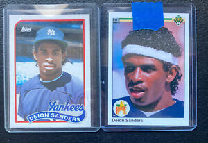 1989 TOPPS TRADED #110T DEION SANDERS RC /& 1990 Upper Deck RC #13 /2 card lot !