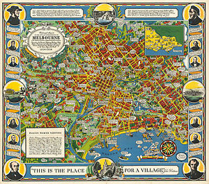 Street Map Australia.Details About Early Pictorial Street Map Melbourne Victoria Australia Poster Vintage History
