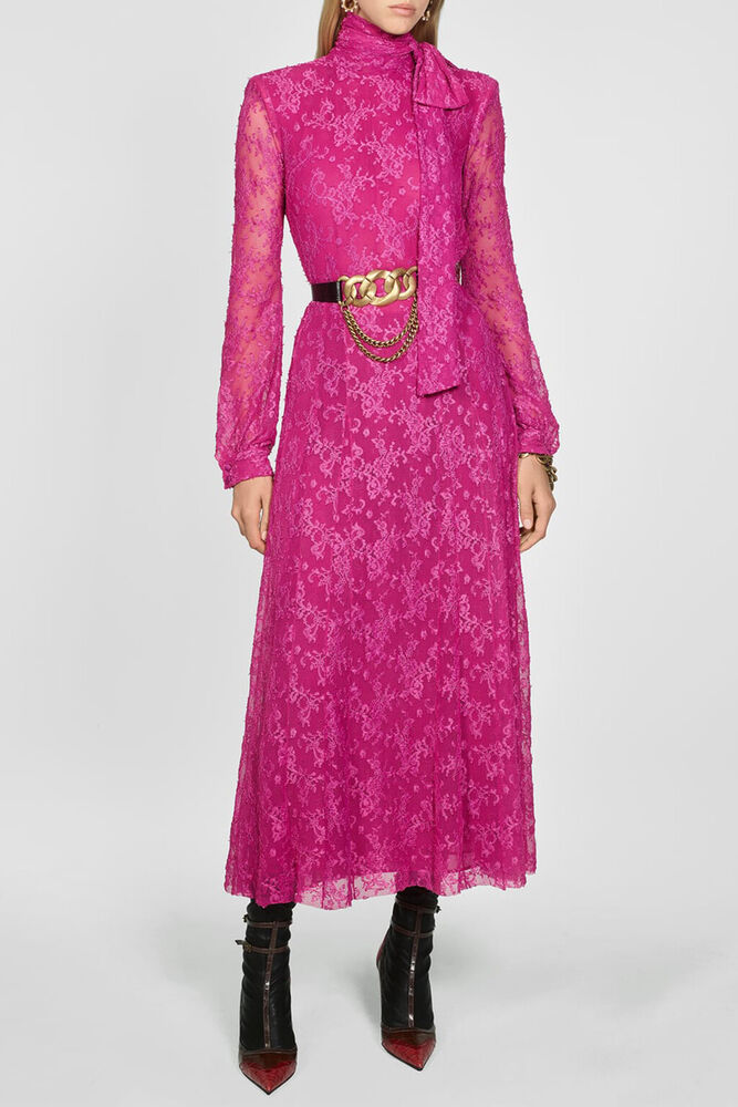 Zara Neuf Fw19 Campaign Maxi Robe Dentelle Rose Lace Dress Bow Pink S L 6264/200