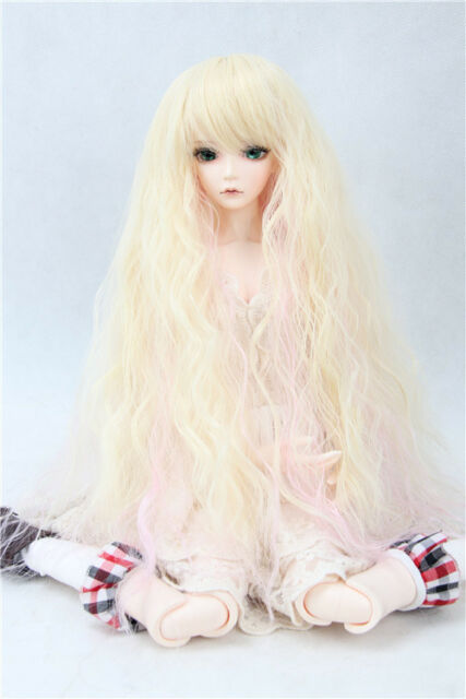 "BJD Doll Hair Wig 6-7"" 1/6 SD DZ DOD LUTS Blonde and Pink Long Wavy"