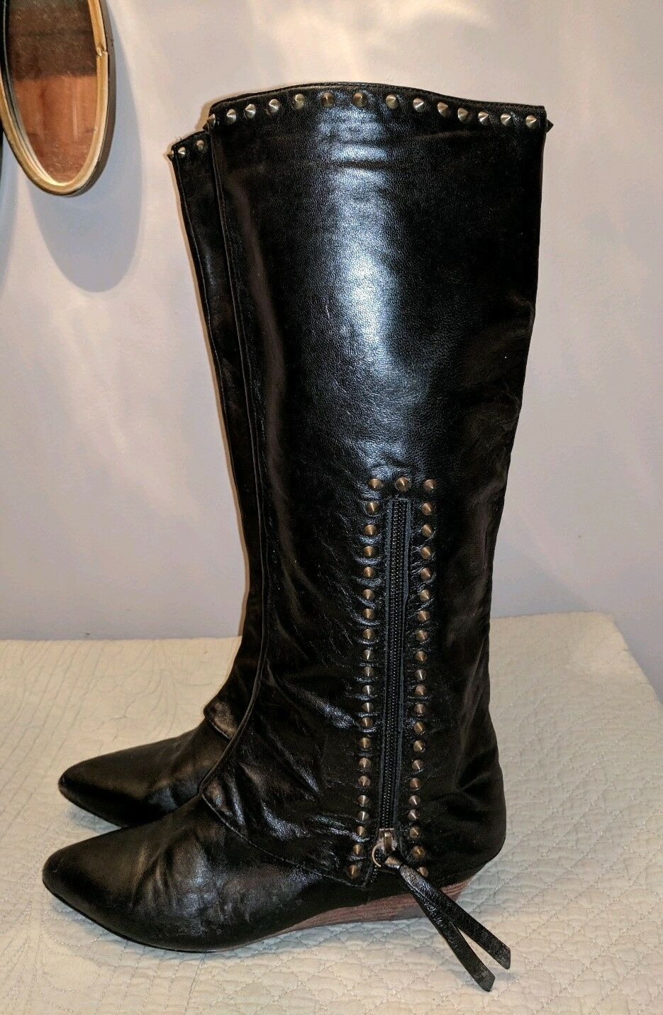Boutique 9 De De De Cuero Negro Tachonado botas Motorista Equitación Alto Damas 5.5 PINCHOS GOTH  moda