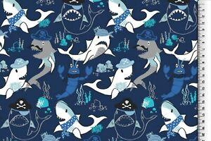Baumwolle-Jersey-Stoff-Druck-Hemmers-Itex-Meerestiere-Blau-Bunt-150-cm