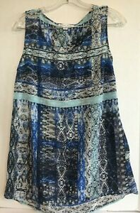 top-blouse-small-sheer-sleeveless-blue-black-print-womens-casual-tank