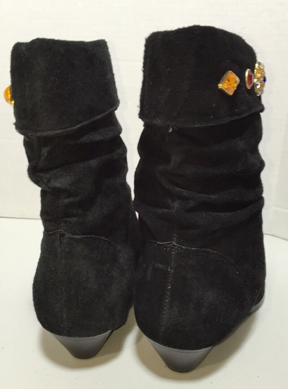 Vtg A J Valenci 80s Jeweled Back Suede Leather Leather Leather Fashion Stiefel Größe 8.5M SBF 63e1a7