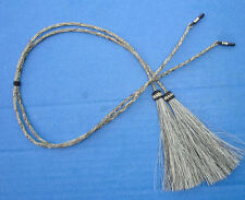 "Western Salt/Pepper Horsehair Eyeglass/Sunglass Holder W/Tassels 24"" Long"